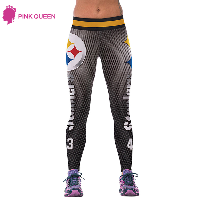 Pink Queen Fashion Fall Light Gray Pants STEELERS 3D Digital Grey Waist Fashion Printing Leggins Printed Women Leggings Pants