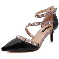 Women Pumps Ladie Sexy Pointed Toe Rivets High Heels Fashion Buckle Studded Stiletto High Heel Sandals