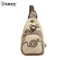 Embroidery Women S Crossbody Bags Lady Casual Floral Chest Bag Shop Zipper Linen Shell Bag Fashion