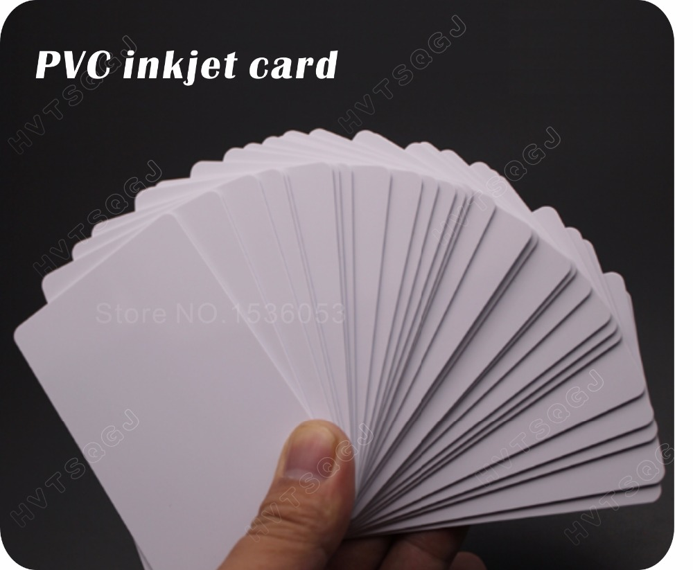 Image 2 - 100 glossy White Blank inkjet printable PVC Card Waterproof plastic ID Card business card no chip for Epson for Canon printer-in IC/ID Card from Security & Protection