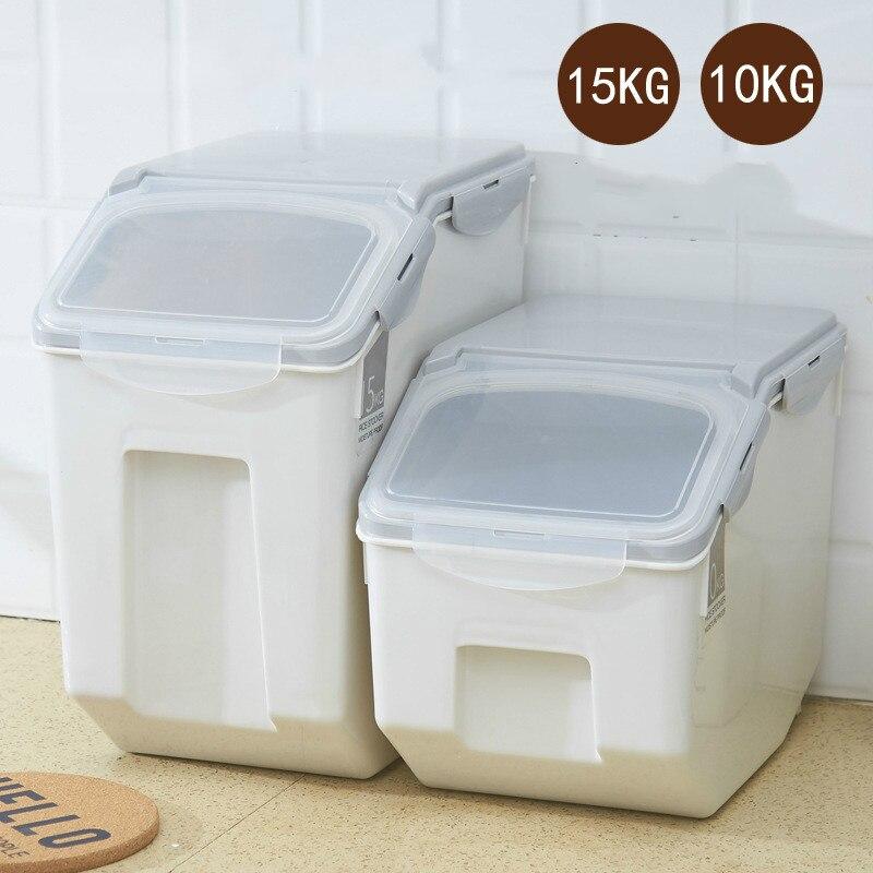 1 pièces 10 kg 15 kg boîte de riz domestique avec anneau d'étanchéité baril de riz étanche à l'humidité cylindre de riz en plastique résistant aux insectes AP11161509