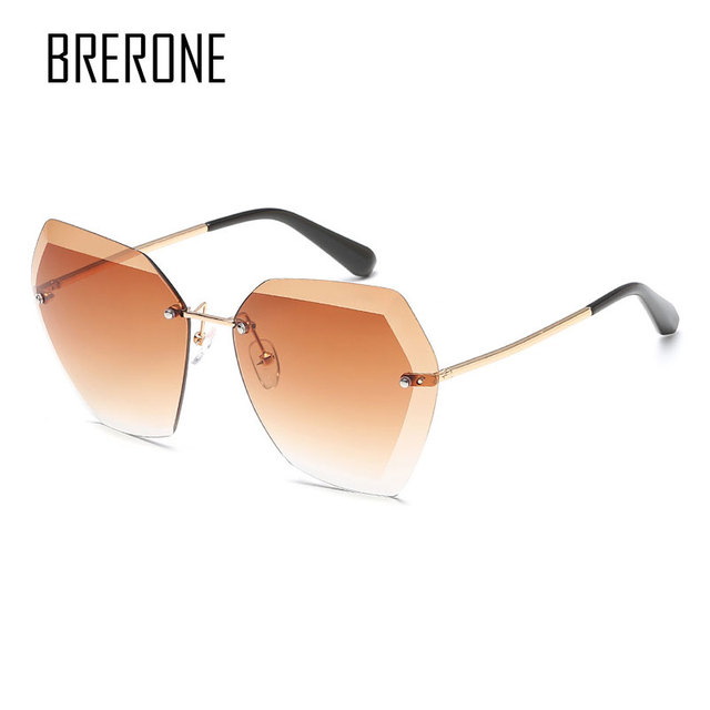 dec130e306e Aliexpress.com   Buy BRERONE Sunglasses For Women Square Rimless Diamond  cutting Lens Brand Designer Fashion Shades Sun Glasses With Box B6683 from  Reliable ...