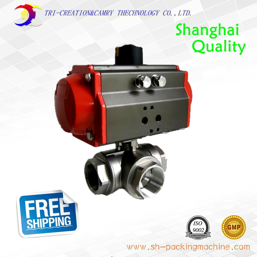 1 1/4 DN32 thread stainless steel ball valve,3 way 304 screwed/female pneumatic ball valve_double acting AT T port valve