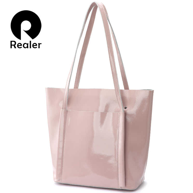 REALER shoulder bag women soft patent leather tote bag female handbags for women 2018 Summer Pink Ladies bag Brand designer