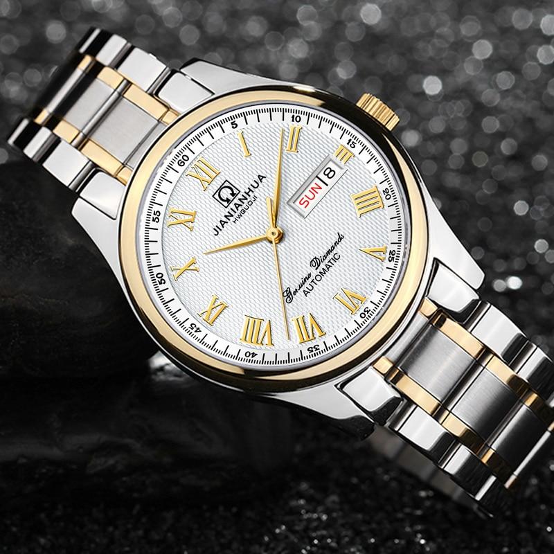 CARNAVAL Mannen Kijken Topmerk Luxe Kalender Week Eenvoudige Rvs Horloges Zilver Goud Relogios Masculino Mens Fashion-in Mechanische Horloges van Horloges op  Groep 1
