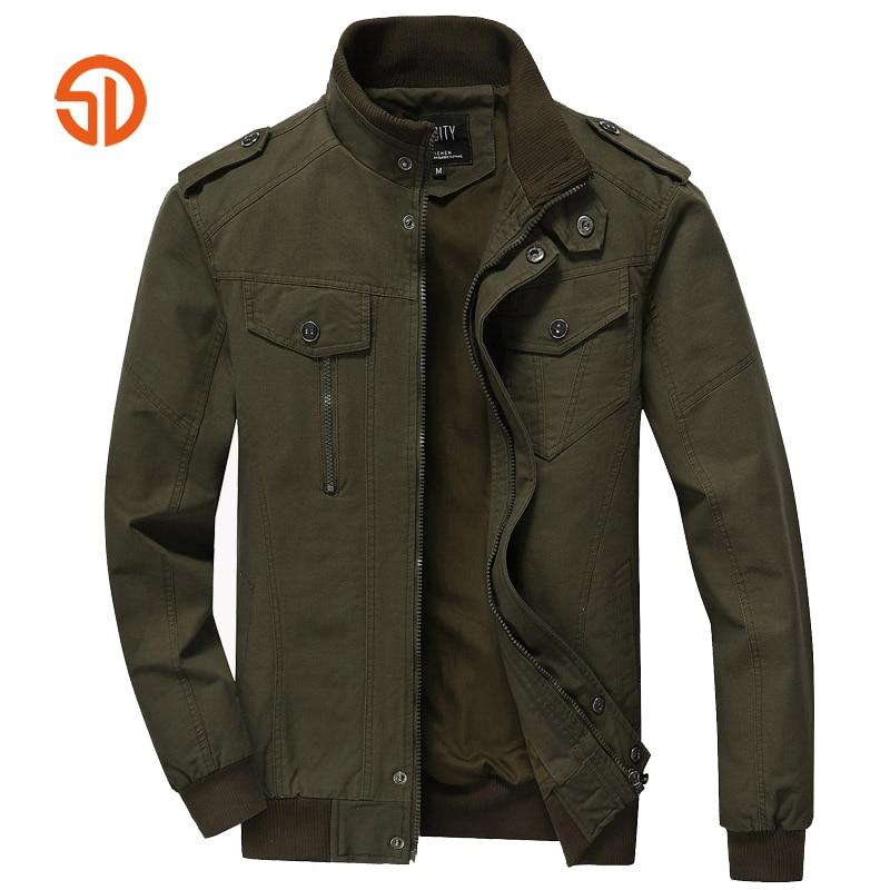 Military Bomber Jacket Coat Men Autumn Winter Cotton Jackets Tactical Stand Collar Multi Pockets Plus Size M-6XL Casaco Feminino