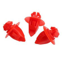 50Pcs 8mm Hole Red Push-Type Bumper Clip Nylon Retainer Trim Panel Auto Fastener Clips Car Styling Rivets 90904-67037 For Toyota