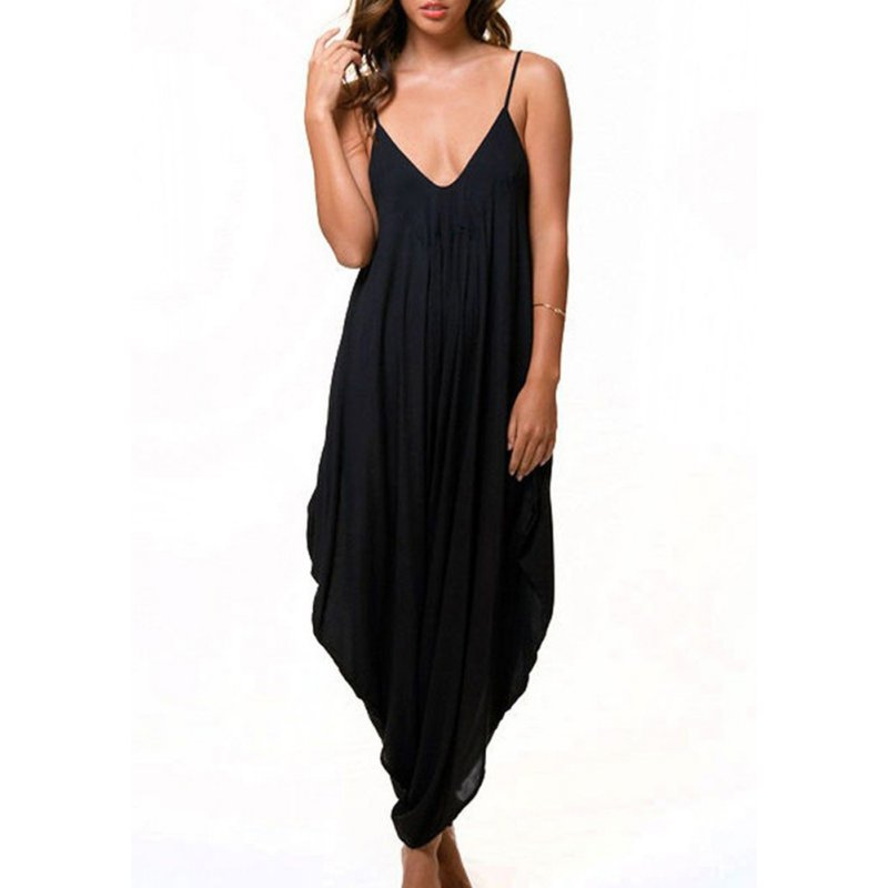 Women Jumpsuit Solid Baggy For Romper Fit Tracksuit Girl Harem Loose Summer/Beach/Party Jumpsuit Suits Women V Neck