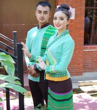 Thailand Vietnam Laos Burma Vietnam traditional Style hotel restaurant waiter work uniforms set  South East Asia dress Suits
