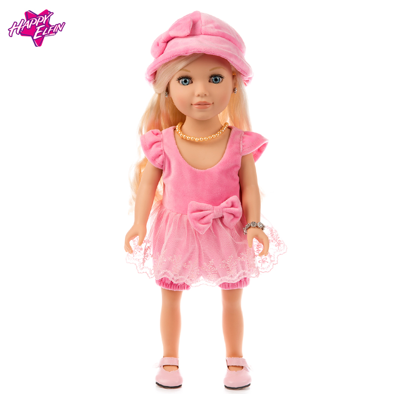 Beautiful Handmade Pink Party Dress Fashion Clothes For 18in American Girl Doll Clothes Kids Toys Gift Doll Accessories 9 colors american girl doll dress 18 inch doll clothes and accessories dresses