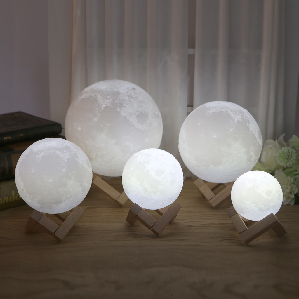 LED Luna 3D Magical Night Light Moon Lamp Desk USB Charging Touch Control Home Decor