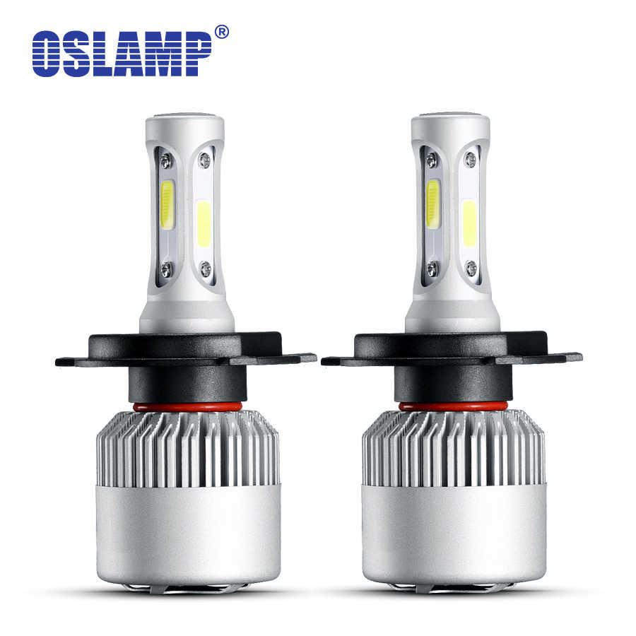 Oslamp 2pcs H4 Led Headlight 72W 6500K COB Auto Led H7 H11 9005 9006 9004 9007 H1 H13 9012 Car Bulbs For BMW Toyota Golf Peugeot