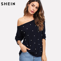 SHEIN T Shirt Women Tops Pearl Beading Raw Cut Bardot Tee Shirt Black Off The Shoulder