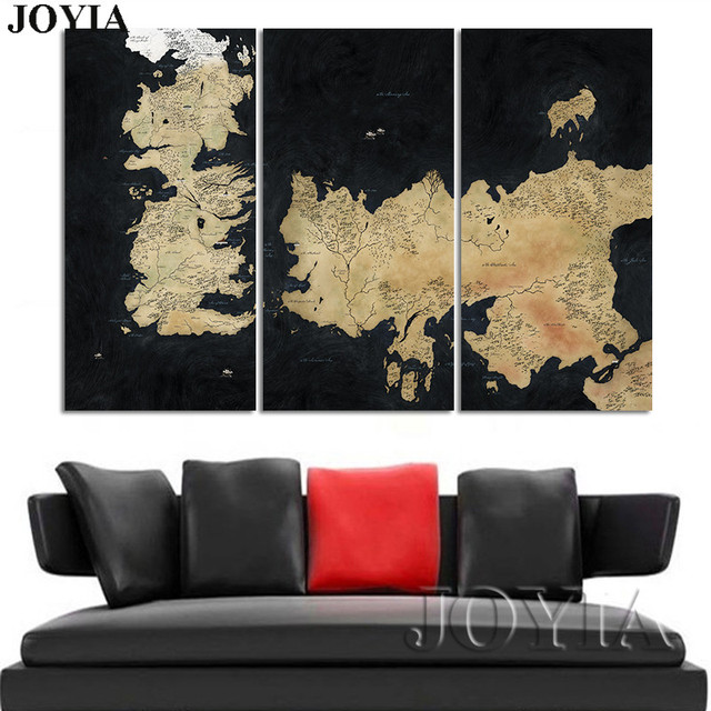 Game Of Thrones Map Canvas Art Seven Kingdoms Maps Ice And Fire ...