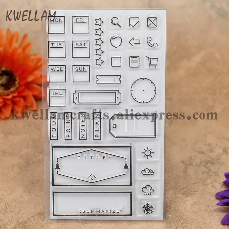 Humor Label Week Todo Point Plant Scrapbook Diy Photo Cards Account Rubber Stamp Clear Stamp Transparent Stamp 9x16cm Kw7011311 Hot Sale 50-70% OFF Home & Garden Stamps