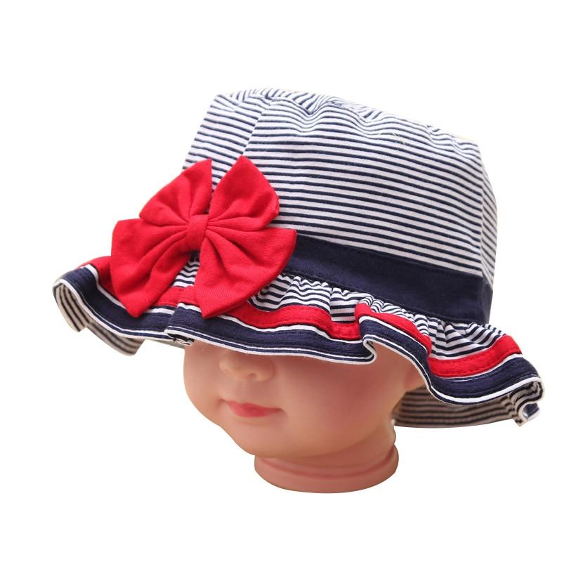 Gestreifte Baby Hut Baumwolle Bogen Infant Sun Caps Mützen Für - Babykleidung