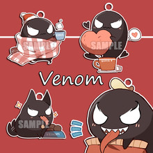 9251095c980 Anime Movie Venom Cosplay Accessories Women Men Cute Kawaii Keychain  Acrylic Pendant Handmade Ornaments Props Key