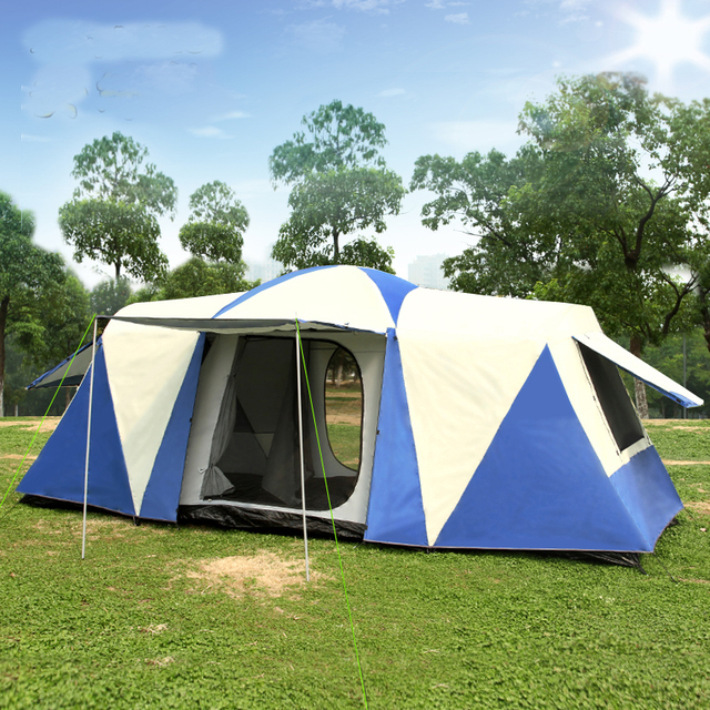 Ultralarge 8-12 Person Double Layer Waterproof Strong Camping Tent Family Tent Carpas De Camping