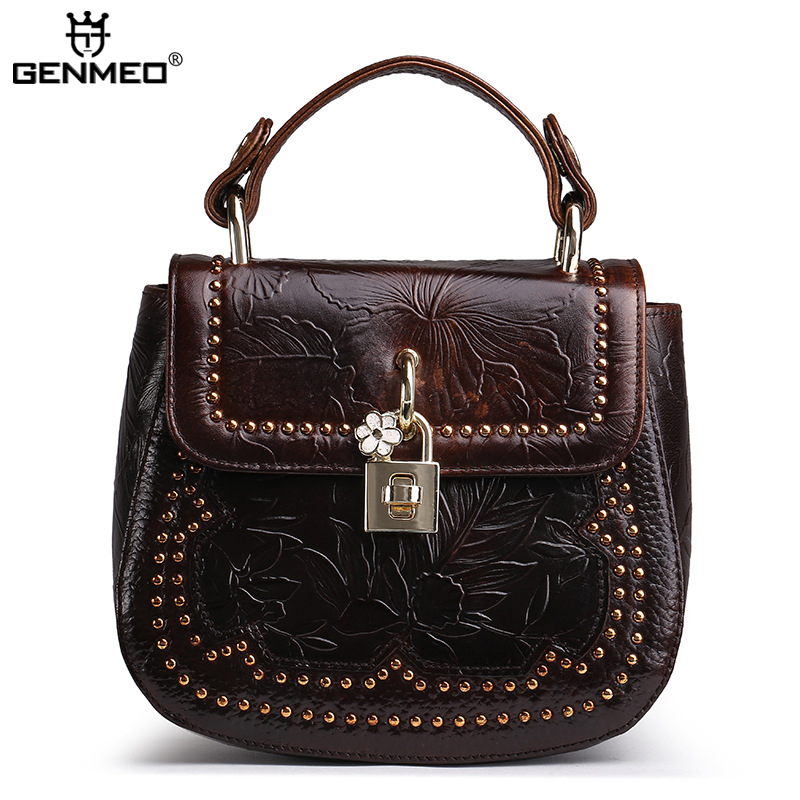 New Arrival Vintage Genuine Leather Women Bag with Adjustable Shoulder Strap Sexy Ladies Real Leather Womens Handbags Bolsa