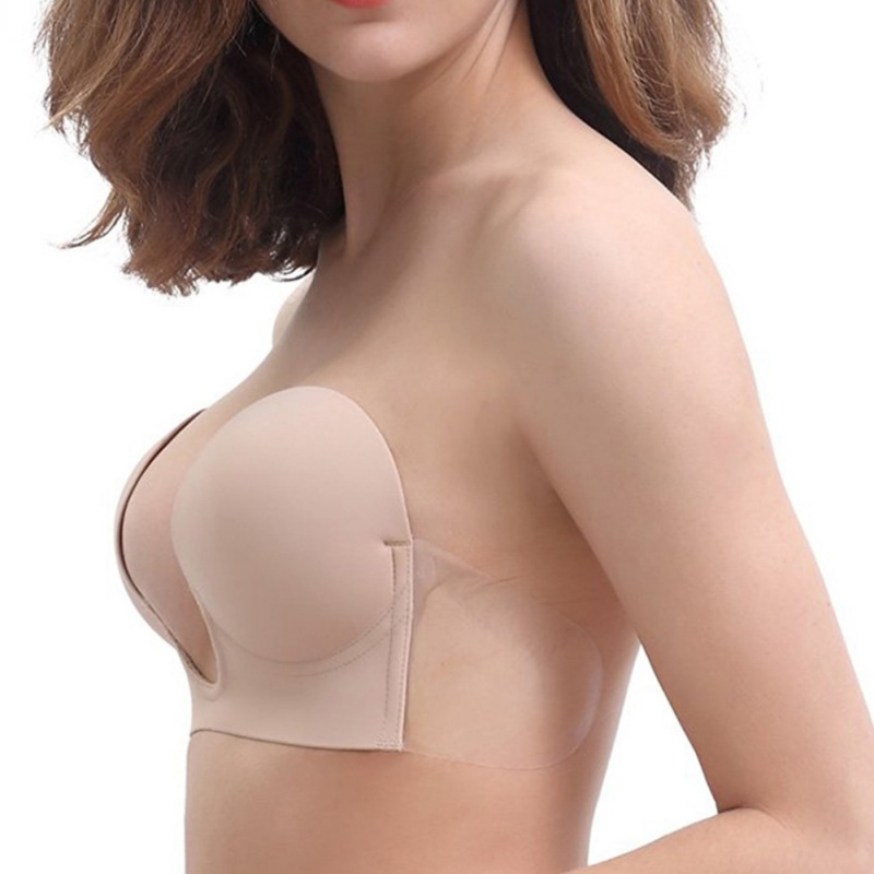 Invisible Push Up Bra Strapless Bras Formal Dress Wedding/Evening Sticky Self-Adhesive Silicone Brassiere Deep U Plunge Bra H6