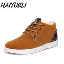 HAIYUELI New Men's casual winter warm snow boots fashion solid flat shoes men lace up round toe Male cotton shoes size 39-44