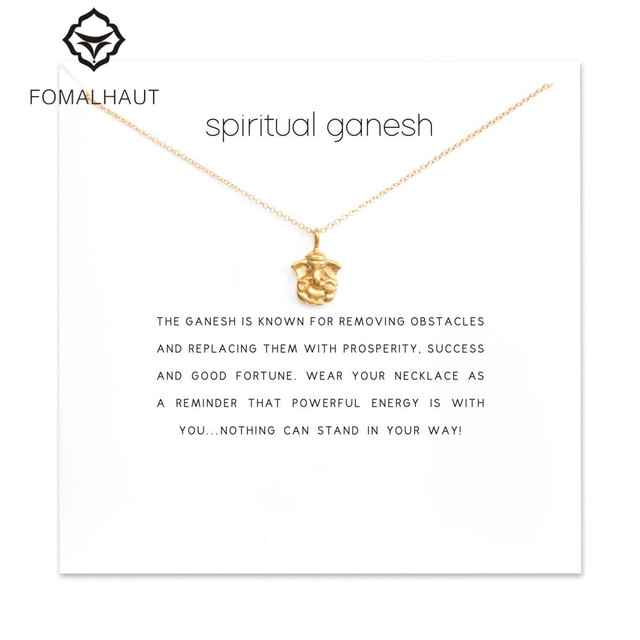 US $1 03 48% OFF|Sparkling spiritual ganesh elephant Pendant necklace  Clavicle Chains Statement Necklace Women FOMALHAUT Jewelry-in Pendant  Necklaces