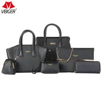 Vbiger Women Bags Set Fashionable Handbags Kit including Tote, Shoulder Bag, Pouch and Wallet, Black Set of 6 For Elegant Female