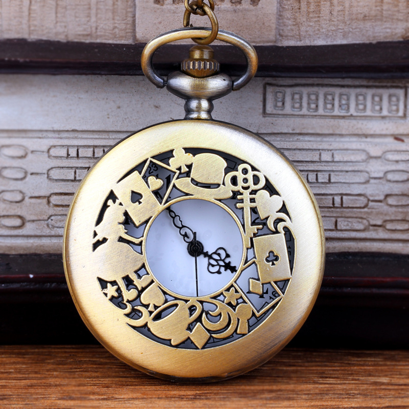 Antique Bronze Alice in Wonderland Pocket Watch Vintage Hollow  Necklace Pendant watches Chain Gifts Unisex Fob Clock old antique bronze doctor who theme quartz pendant pocket watch with chain necklace free shipping