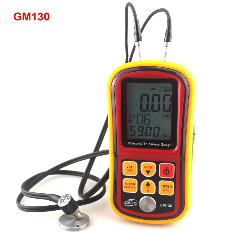 цены  GM130 Ultrasonic Thickness Gauge 1.0~300mm (Steel) Sound Velocity Meter 1000~9999m/s Metal Depth Tester