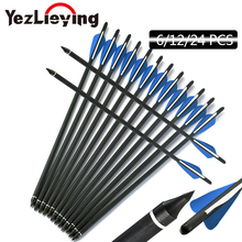 16/17/18/20/20/22 Inch Crossbow Bolt Carbon Arrow Blue White Feather Replaceable Arrow For Recurve/Composite Bow Hunting Archery
