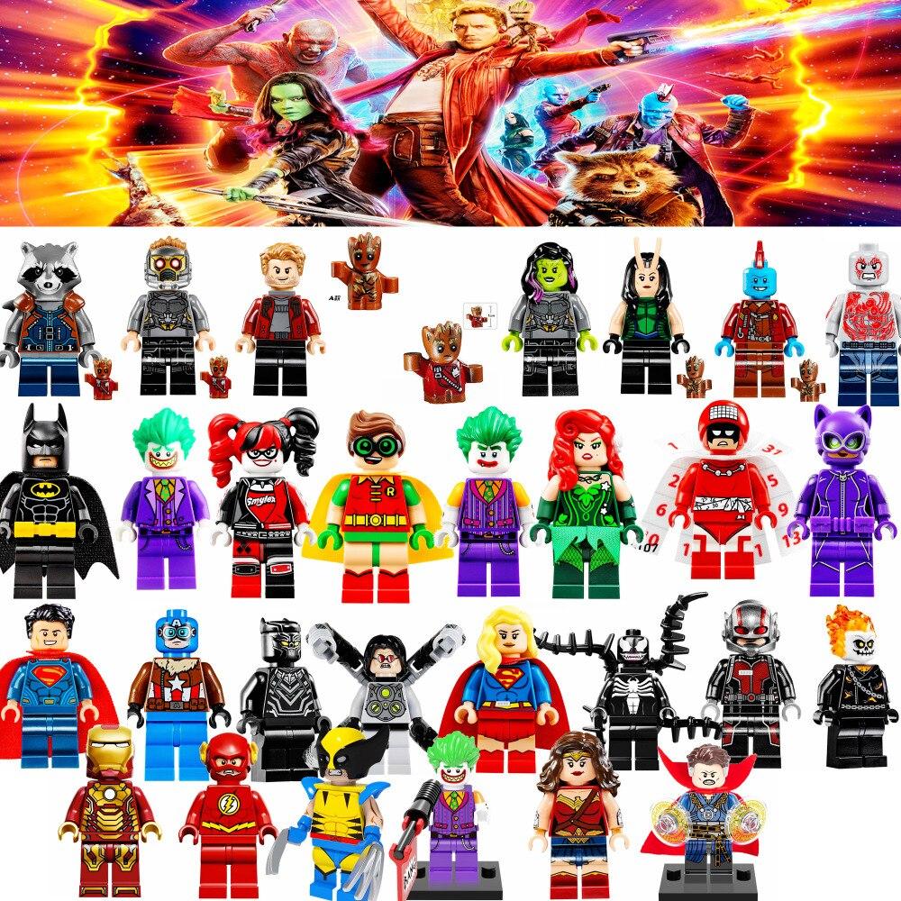 2017 новые и классические 100 + супер героев одной продажи стражи галактики бэтмен x человек мстители модели и строительные блоки игрушки