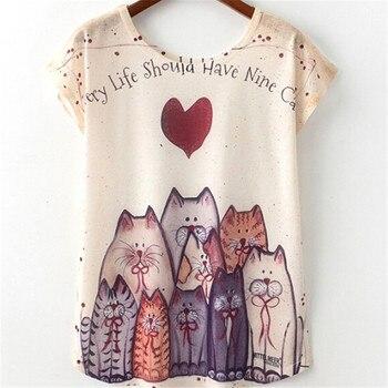 Cute Style Nice Cat Print Summer Novelty Women T Shirt Harajuku Kawaii T-shirt New Short Sleeve Tops Size M L XL