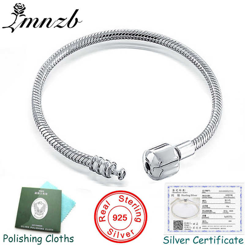 LMNZB 100% Original 925 Silver Snake Bone Charm Bracelets Bangles for Women Bracelet with Certificate and Wipe Cloth LZCB005