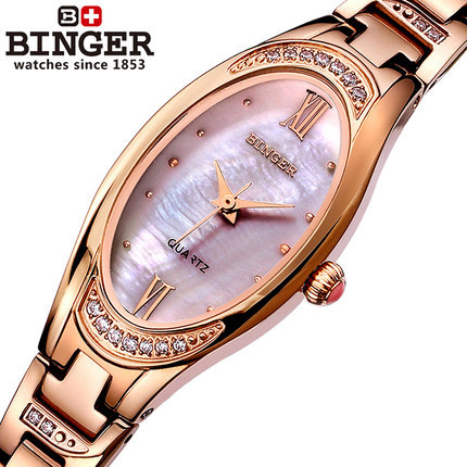 Binger Luxury Brand Women Rose Gold Dress Watches Shell Dial Brass Tassel Lady Quartz Watch Relogio Feminina Bracelet WristWatch natural brand new gold ceramic watches shell white dial water resistant rose crystal ladies bracelet watch fw830v free gift box