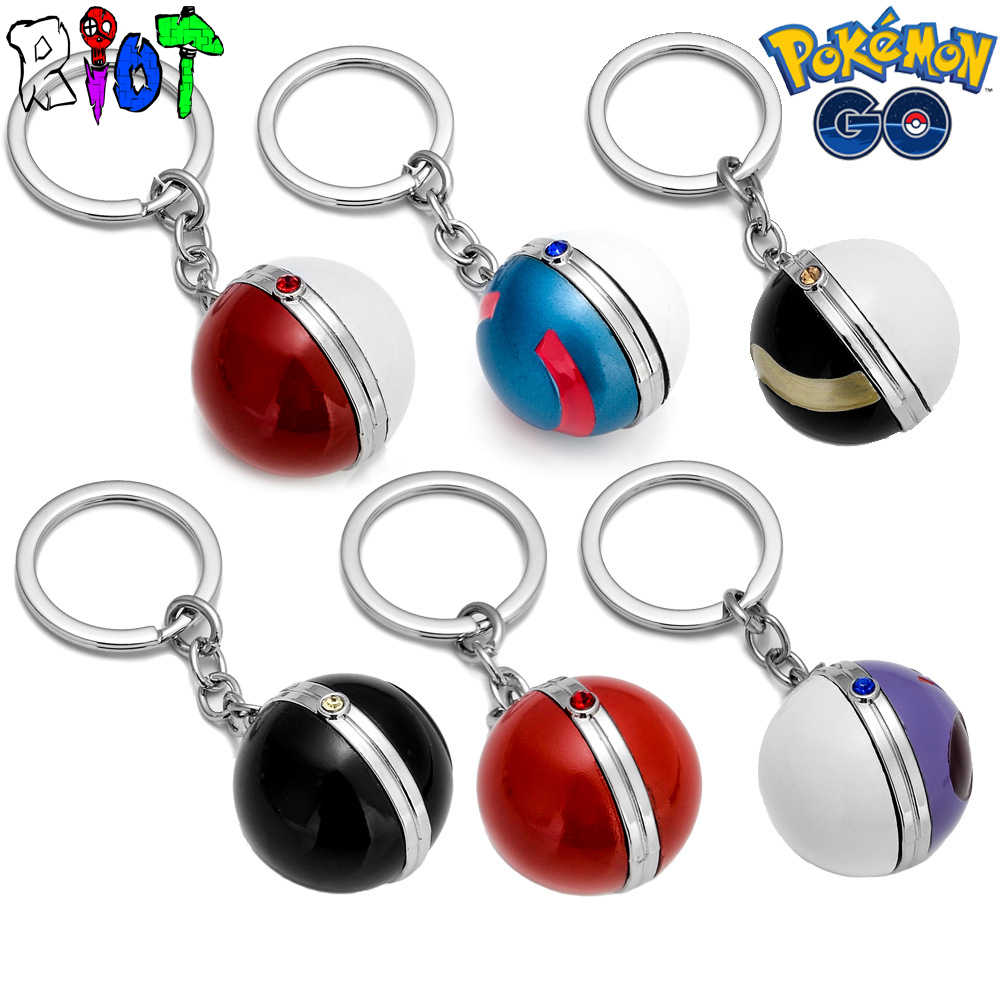 6 Types Pokemon Go Keychain Pocket Monster Keyring 3D Poke