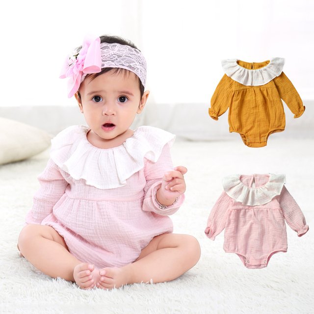 Baby Girl Romper Long Sleeves Cotton Toddler Clothes Cute Hat Bibs Sets Casual 1st Birthday Clothing For Kids