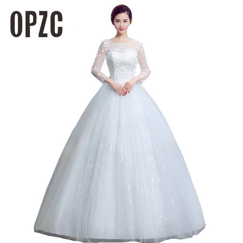 2018 New Simple Elegant Wedding Dress Beautiful Lace A: 2 Style Autumn Lace Flower With Long Sleeve Wedding
