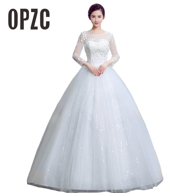 2 style Autumn Lace Flower With Long Sleeve Wedding Dresses 2018 New Simple  Pricess Bridal Grown Elegant Vestidos De Novia eea2c25fe8df