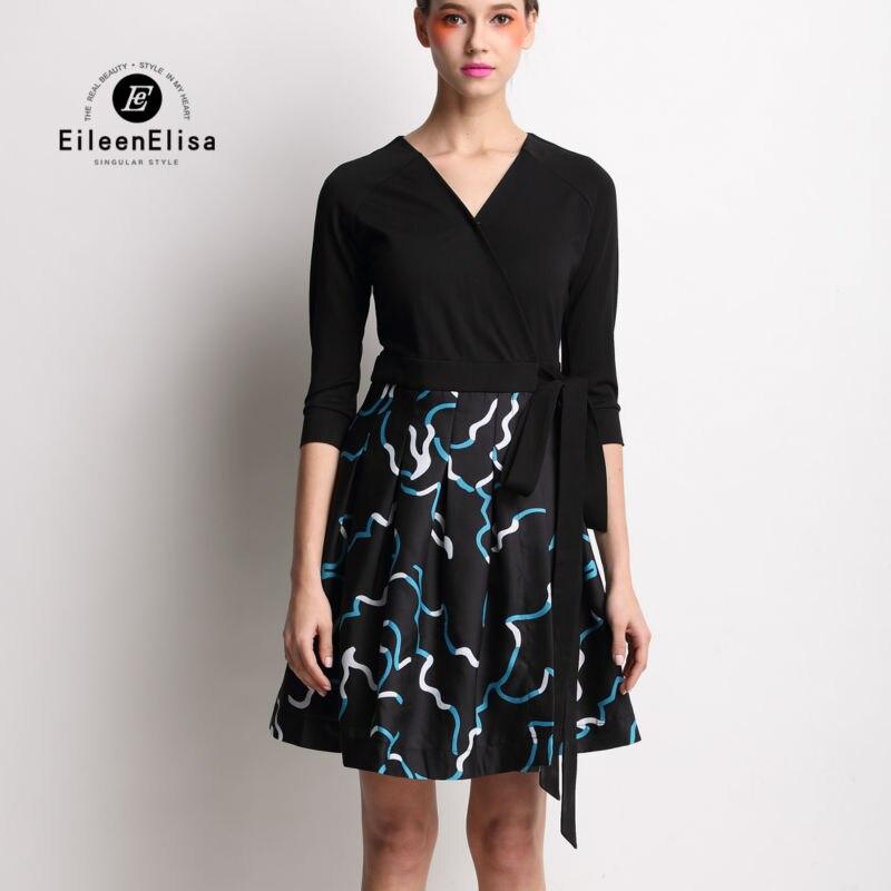 2017 Luxury Designer Dress Women High Quality Runway Patchwork Long Sleeve V-Neck