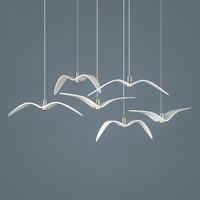 Creative Seagull Pendant Lights Black White LED Pendant Lamp Bar Dinning Room Suspension luminaire Kitchen Light Fixtures