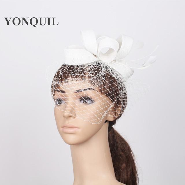 NEW Birdcage Veil fascinator Hat Event headwear White Wedding imitation  linen Fascinator with feather Hairband Women Elegant Hat 6f9296f521c