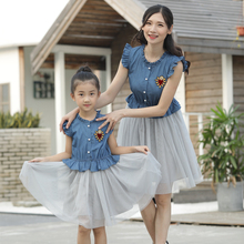 Denim Mesh Mother Daughter Dresses Family Look Mommy and Me Clothes Ruffled Mom Mum and Girls Dress Clothing Matching Outfits mommy and me denim long sleeves matching dress