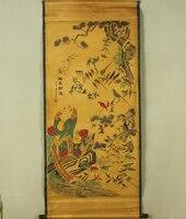 Antique malarstwo tradycyjne chińskie sto ptaki i phoenix malarstwo przewiń malarstwo, starego papieru malowanie