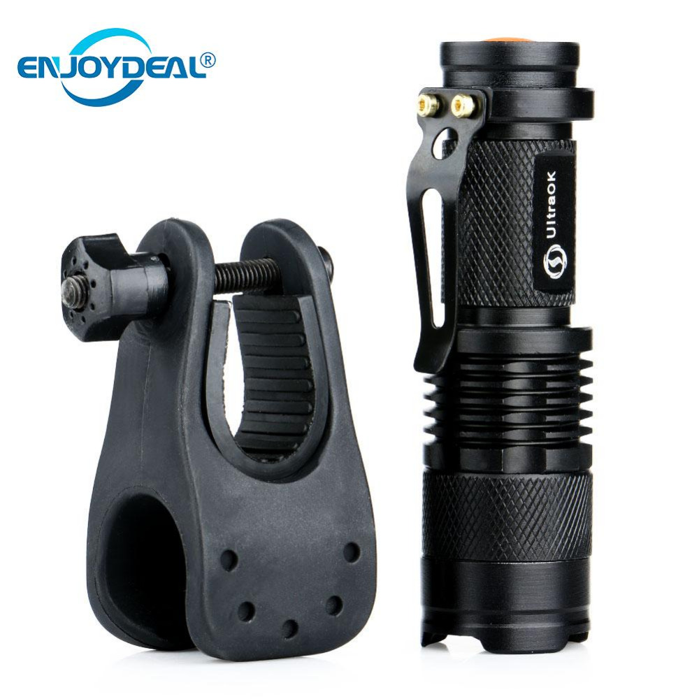 Q5 LED Flashlight Torch Adjustable Focus Portable LED Flashlight Torch AA 14500 Penlight Lantern Bike Bicycle Torch Clip Holder