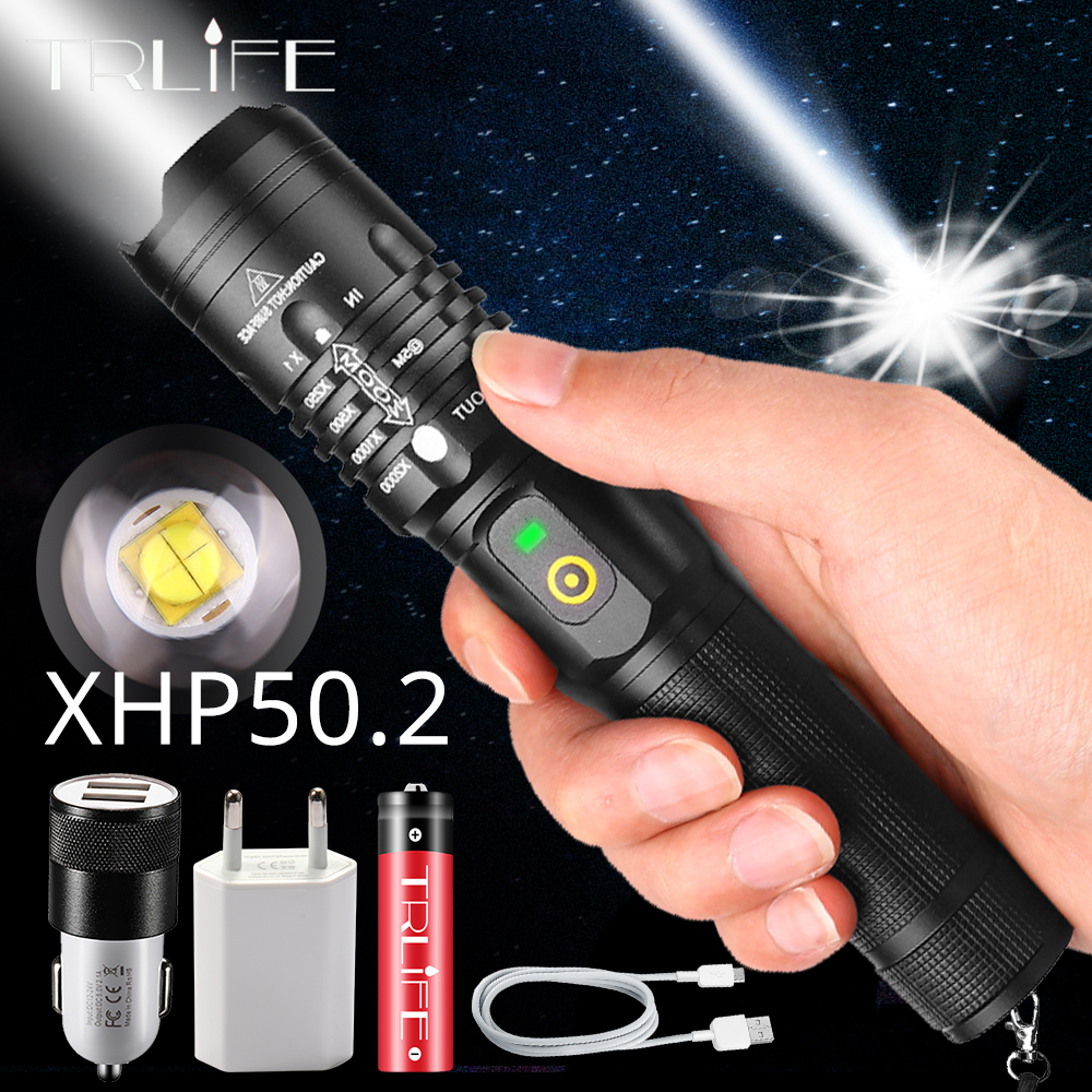 <font><b>60000LM</b></font> Powerful <font><b>LED</b></font> Flashlight XHP50.2 Rechargeable Torch XHP70.2 USB Zoom Lantern XHP50 Hunting Lamp Self Defense Use 18650 image