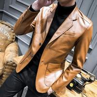Men's New Casual Suit PU Leather Casual Blazer Jacket Slim Fit Lapel Coats Two Buttons S28