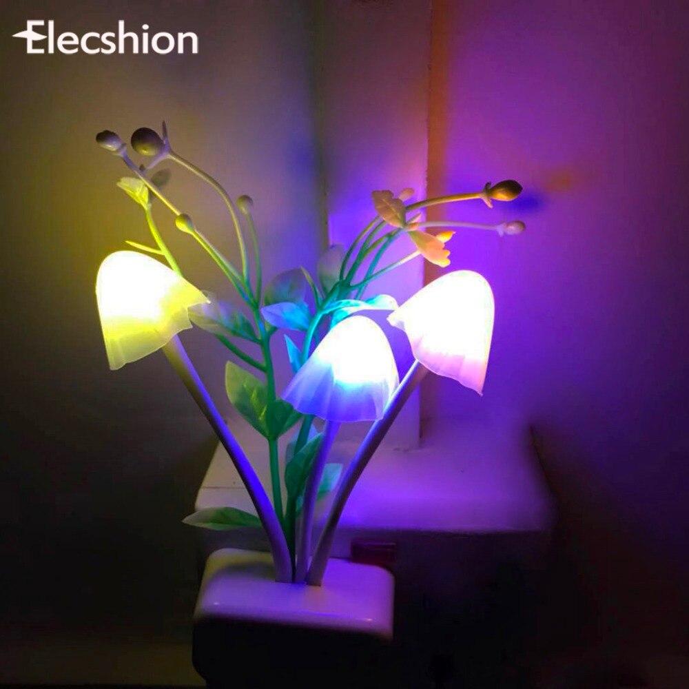 Elecshion светодиодный Гриб Сенсор ночник Декоративные светильники ЕС США детские, для малышей Новинка Беспроводной стены RGB ночник-проектор