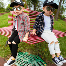 Boys pants spring and autumn new childrens elastic hole pencil mens trousers 2 3 4 5 6 years