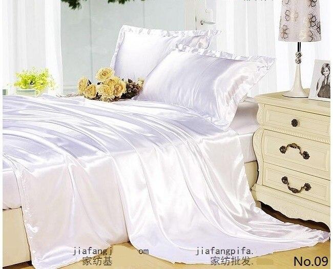 7pcs White Silk Satin Bedding Set California King Quilt