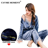 CAVME Sexy Lace Pajamas Sets Winter V Neck Velour Sleepwear Sexy Women 3 Pces Set Full Sleeve Length Nightwear Home Clothes